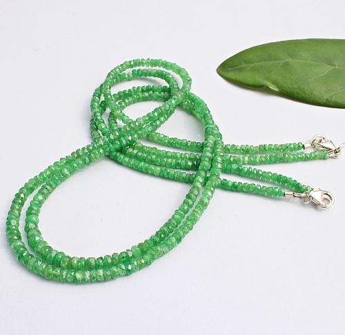 Tsavorit Edelstein Halskette 45cm facettierte Tsavorit Perlen 3-4mm Verlauf Silberverschluss 925