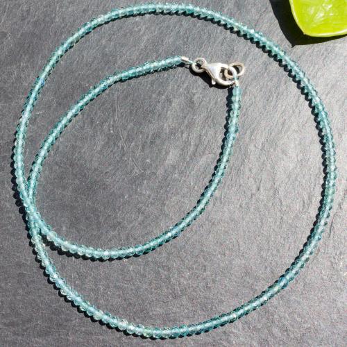 Apatit Halskette 45cm facettierte Perlen 3mm transparente Perlen