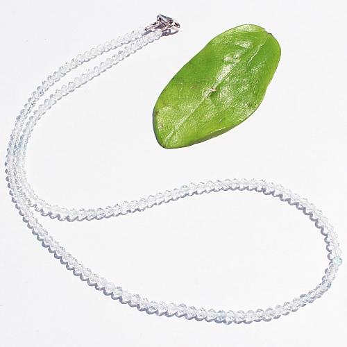 Topas Edelstein Halskette transparent blau 45cm facettierte Topas Perlen 3mm