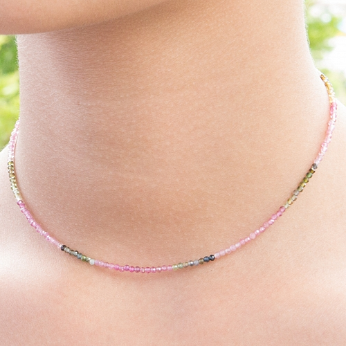 Turmalin Multicolor Halskette Stein Runde Form Diamanten 2 mm