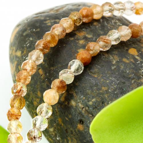 Rutilquarz Stein Halskette rot gold 46cm facettierte Rutilquarz Perlen 3mm