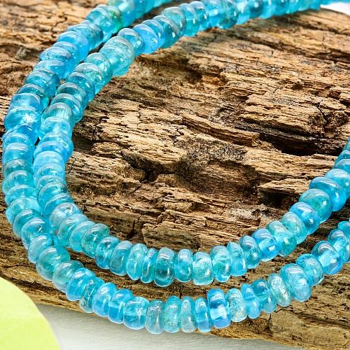 Apatit Edelstein Halskette 44cm facettierte Apatit Perlen Button 4mm
