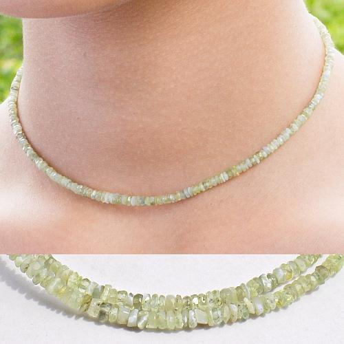 Chrysoberyll Edelstein Halskette 44cm Facettierte Chrysoberyll Button Perlen 3mm