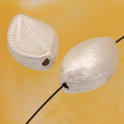 Silberperle Muschel Oval gebürstetem Sterlingsilber 925 16x10mm