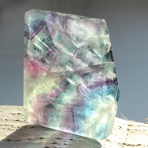 Edelsteinscheibe  Fluorit Regenbogen Nr. F6  45x40x7mm