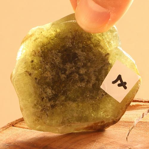 Unique garnet green gemstone slice 007 52x48x7mm