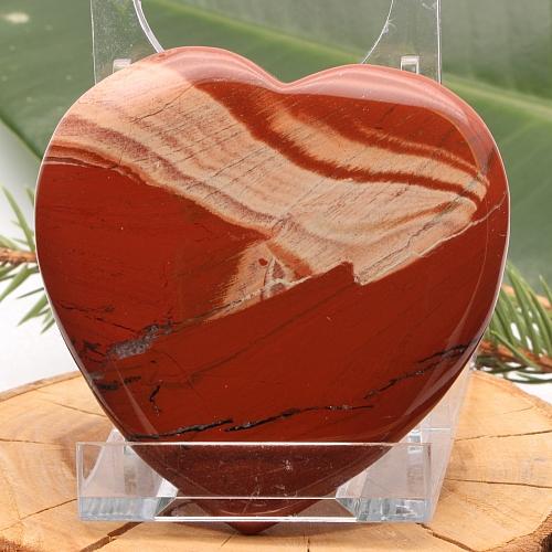 flaches Herz Handschmeichler Roter Jaspis flach 003 75x73x10mm