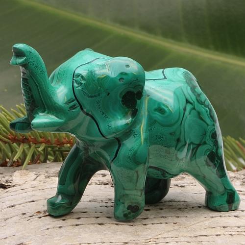 Malachit Elefantenfigur Unikat Willi