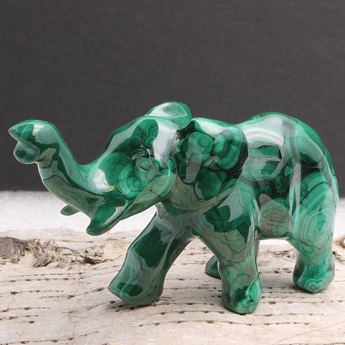Malachit Elefantenfigur Unikat Erwin