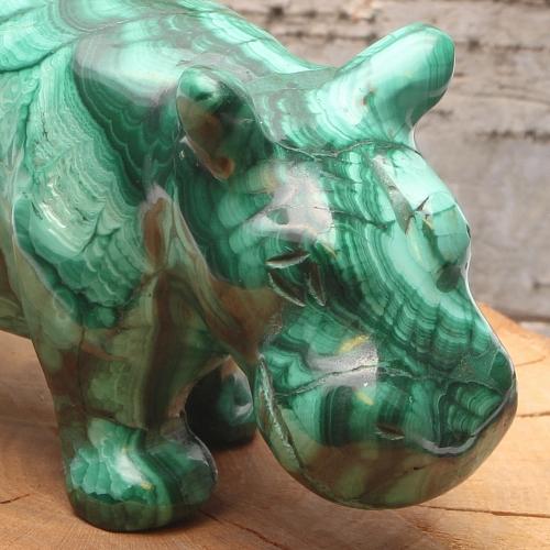 Malachit Nilpferd Dicke Frieda Malachit Edelstein Hippo  80x25x40mm