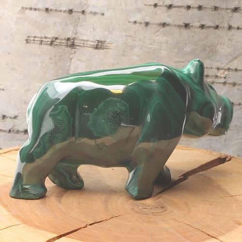 Nilpferd Peggy Malachit Flußpferd aus Edelstein 65x65x35mm