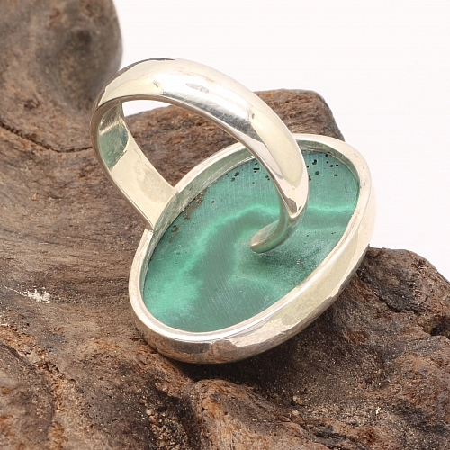 Malachit Silber Oval Ring 925 Sterling Silber Offene Größe 28x19mm