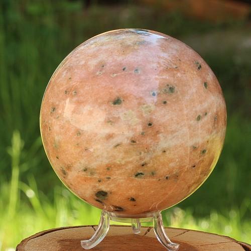 Stone sphere big orange fire calcite 9,5cm