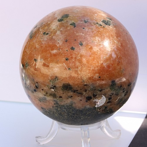 Stone sphere big orange fire calcite 7cm