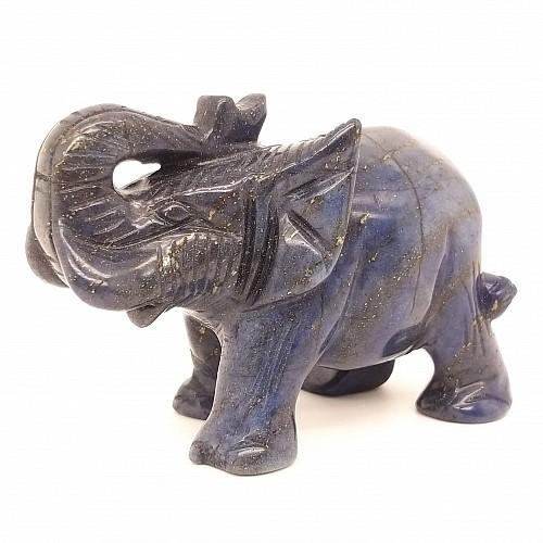 Lapislazuli Elefant Edelsteinfigur 73mm blau