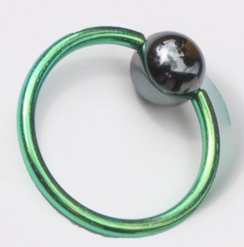 Titanium Klemmkugelring Grün Standard 1,6mm Piercingring
