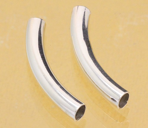 Silver bead bent tube tube gloss 30X6mm silver 925