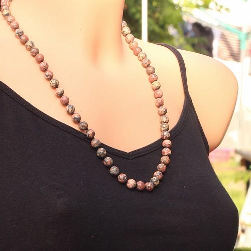 Rhyolit Kette 8mm Perlen 60cm mit Messing Karabinerverschluss Leopardenfall Jaspis Halskette