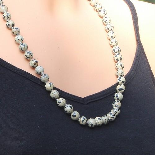 Dalmatiner Kette 8mm Perlen 60cm mit Messing Karabinerverschluss Dalmatiner Jaspis Halskette