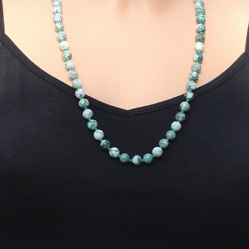 Baumchat Kette Natur 8mm Perlen 60cm Halskette