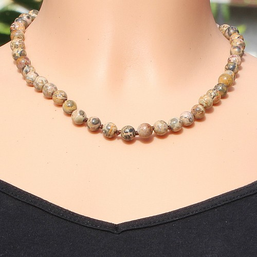 Smokey quarz necklace 45cm 8mm beads