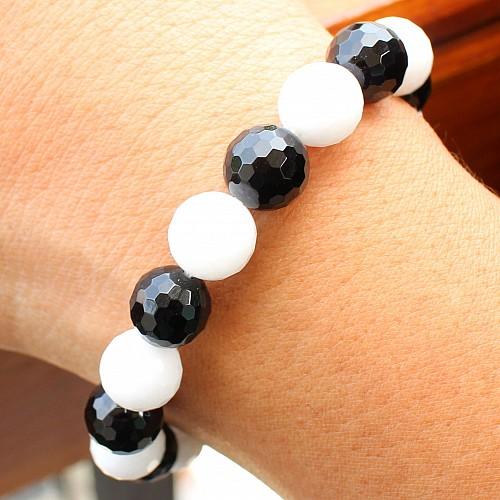 Schwarz / Weiß Armband Aragonit Obsidian 10mm Facettierte Perlen