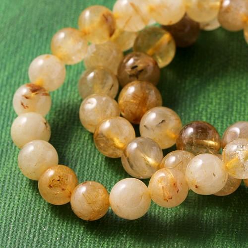 Rutilquarz Armband 4-5mm Perlen Kugel A+
