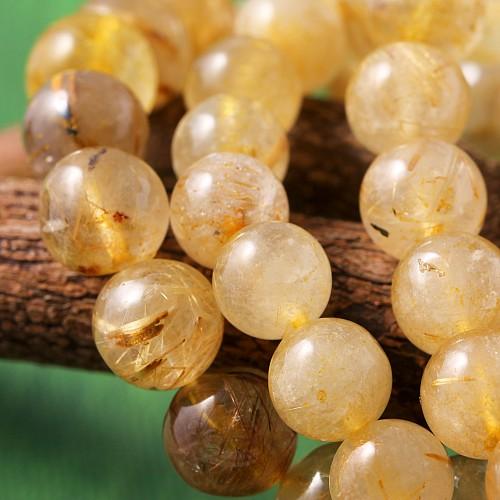 Rutilquarz Armband 7-8mm Perlen Kugel A+