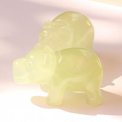 China Jade Hippo, Edelstein Nilpferd Afrika 50mm