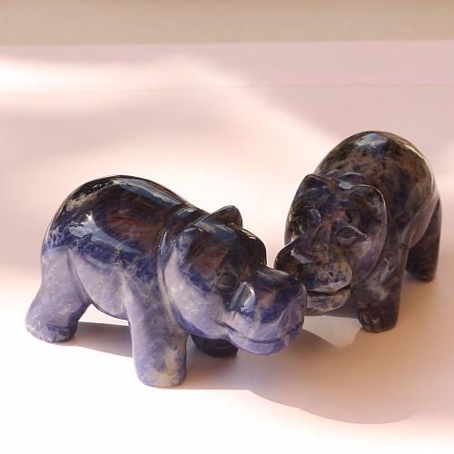 Sodalith Flusspferd Edelsteinfigur Hippo 50mm