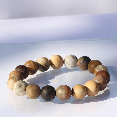 Petrified Wood Bracelet 10mm Matt Beads