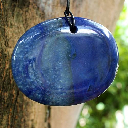 Blauquarz Anhänger sehr großer Steinanhänger blau Naturstein 70*52*8.5mm
