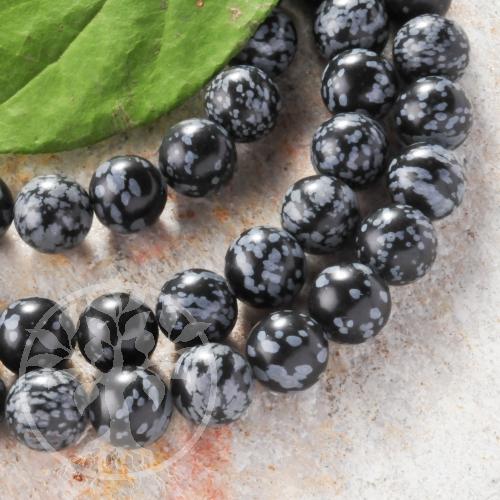 Schneeflocken Obsidian Schmuckperlen 8 mm/40cm A