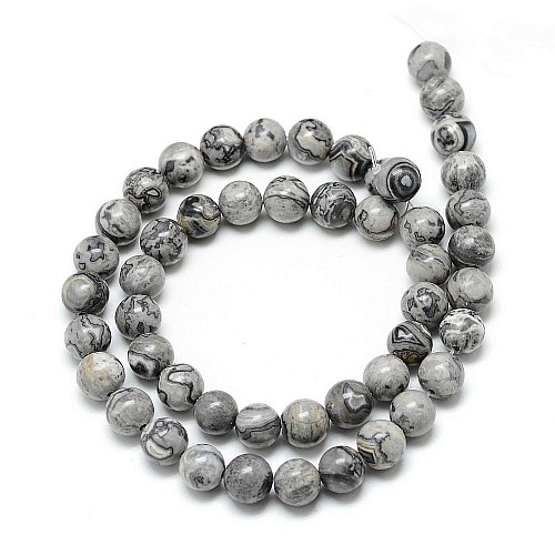 StoneBeads Picasso Crazy Agate Jasper 10mm/39cm loose beads
