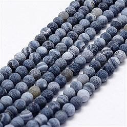 Blue Agate cracked Round Beads Matt 10mm/37-38cm