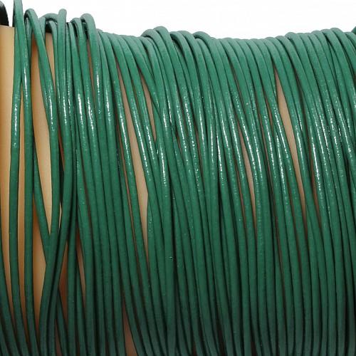 Lederband Grün Ziege rund 1 Meter 1,5mm