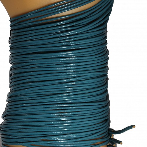 Leather ribbon goat 1 Meter 1,5mm turquoise green