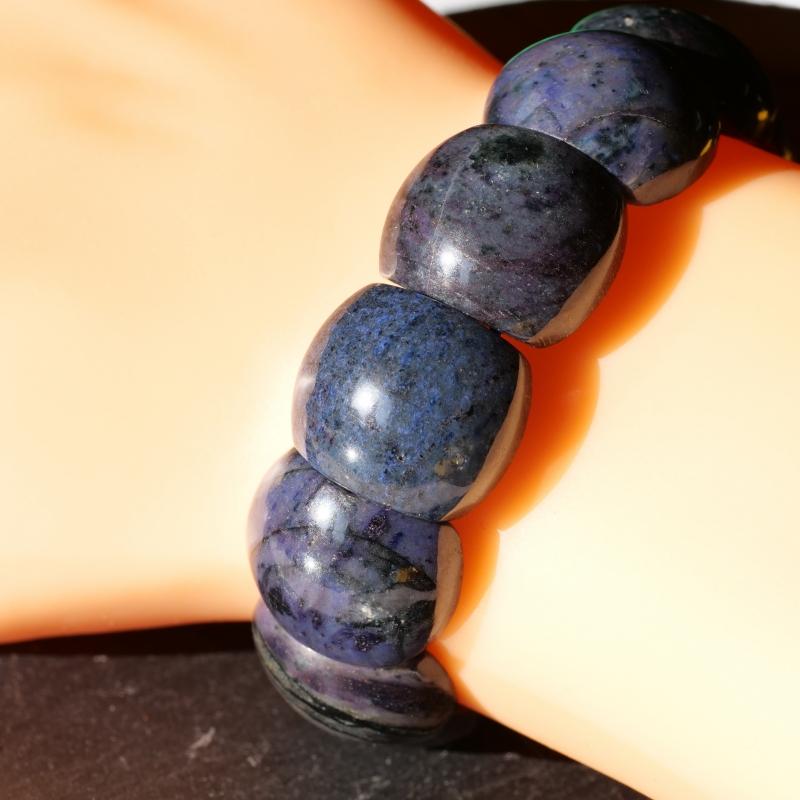 Dumortierit Armband Beatle dunkel-blaue-schwarz Natur Stein