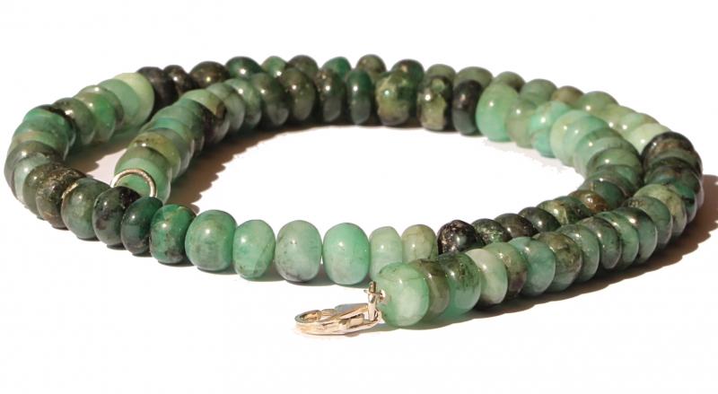 Smaragd Edelstein Smaragdkette Button Perlen