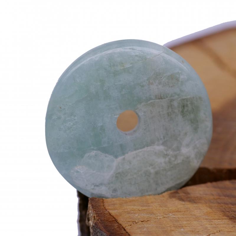 Aquamarin Donut Steinscheibe echter indischer Aquamarin ca. 30/35mm