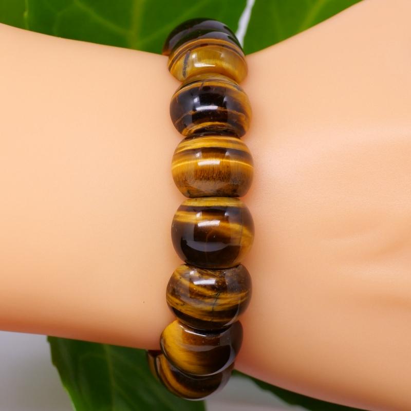 Tigers Eye Bracelet half rounded beads golden Natural Tigereye