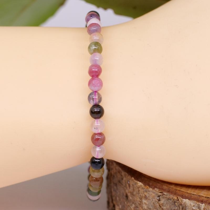 Tourmaline gemstone bracelet green, violet beads 5mm