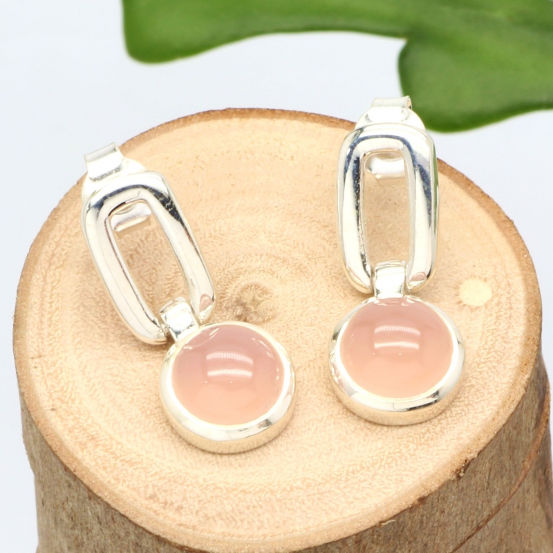 Pink Opal Earrings Sterlingsilver 925 10mm