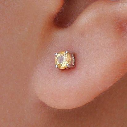 Zitrin Ohrringe rund facettiert Sterling Silber 925 4mm