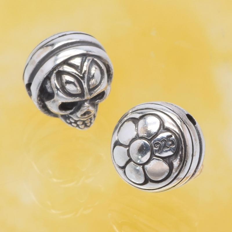 Silberperle Totenkopf Skull Silver 925 10mm