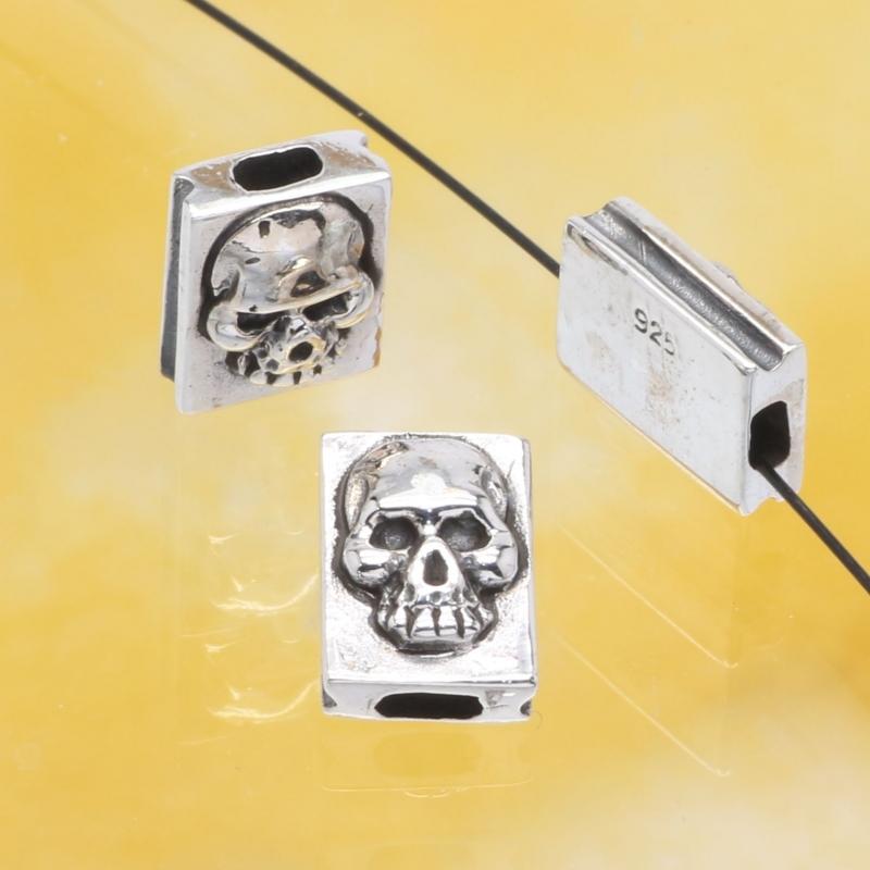 Silver Skull Bead Sterlingsilver925 10x7mm