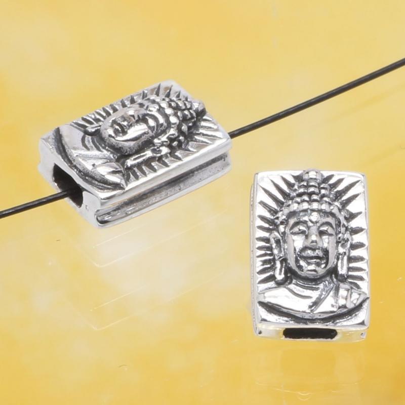 Silberperle Buddha Kopf Silber 925 10x7mm