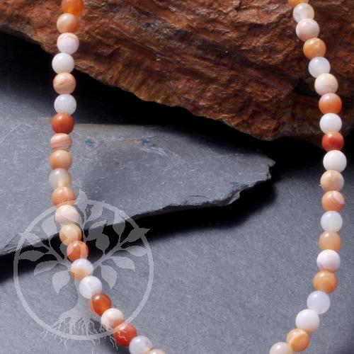Botswana Achat Perlen Orange Rot Gebändert 10mm