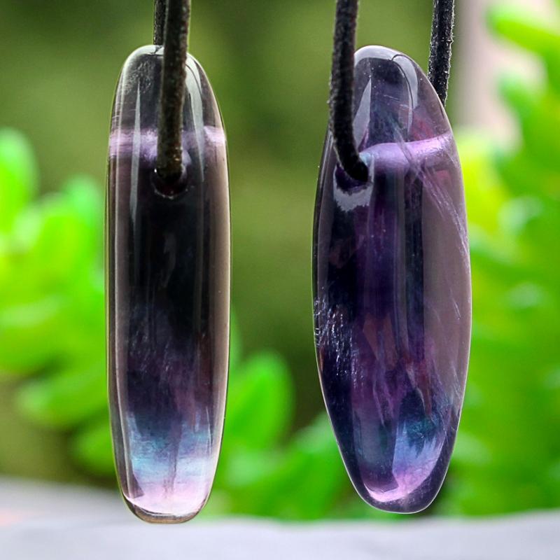 Fluorit Edelstein Anhänger biconvex Regenbogenfluorit 30x12mm
