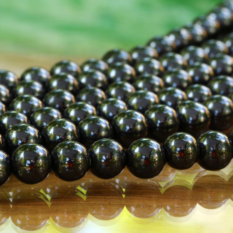 Turmalin Schwarz Perlen AA 6mm Ø Steinperlen 40cm